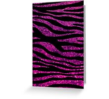 Animal Print, Zebra Stripes, Glitter - Black Pink Greeting Card