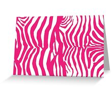Animal Print, Zebra Stripes - Pink White Greeting Card