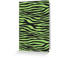 Animal Print, Zebra Stripes - Black Green  Greeting Card