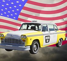 Yellow and White Checkered Taxi Cab And US Flag by KWJphotoart