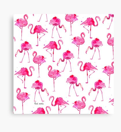 Floridian Flamingos - White Canvas Print