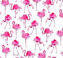 Floridian Flamingos - White by freeinthelines