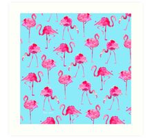 Floridian Flamingos - Blue  Art Print