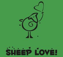 Sheep Love, Hearts, Balloon - Green Black  Kids Clothes