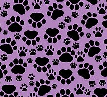 Dog Paws, Traces, Paw-prints - Purple Black by sitnica