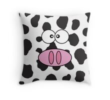 Cow Face, Cow Nose, Cow Spots - Pink Black White Throw Pillow