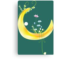 Cartoon moon and flowers Canvas Print