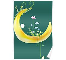 Cartoon moon and flowers Poster