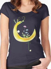 Cartoon moon and flowers Women's Fitted Scoop T-Shirt