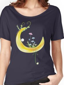 Cartoon moon and flowers Women's Relaxed Fit T-Shirt