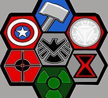Avengers Assemble - Minimal Comic Hero Logo by BagChemistry