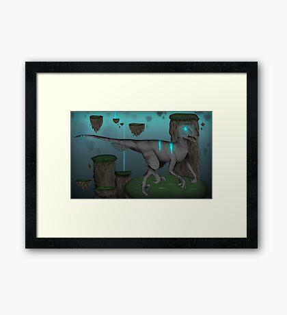 Acid Velociraptor Framed Print