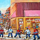 Hockey Game Near Beauty&#x27;s Restaurant by Carole  Spandau