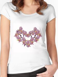 floral pattern with iris watercolor. Women's Fitted Scoop T-Shirt