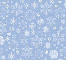 Frosty Snowflakes (Snowfall) - Blue White  by sitnica
