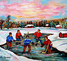 Pond Hockey With Pink sky by Carole  Spandau
