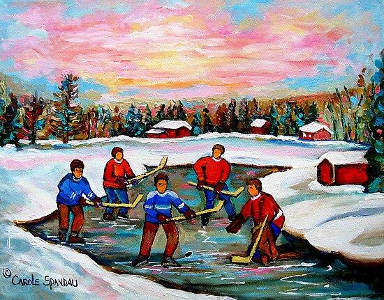 Pond Hockey With Pink sky by Carole  Spandau