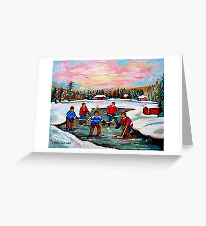 Pond Hockey With Pink sky Greeting Card