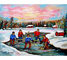Pond Hockey With Pink sky Photographic Print