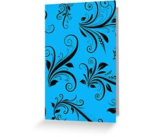 French Damask, Ornaments, Swirls - Blue Black Greeting Card