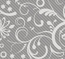 French Damask, Ornaments, Swirls - Gray White by sitnica