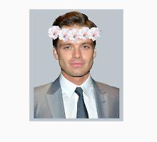 Sebastian Stan Flower Crown- Grey Womens Fitted T-Shirt