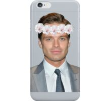 Sebastian Stan Flower Crown- Grey iPhone Case/Skin