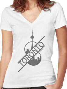 Toronto Apparel - Half Cut Women's Fitted V-Neck T-Shirt