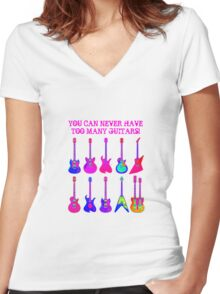 Colorful Electric Guitar Artwork Women's Fitted V-Neck T-Shirt