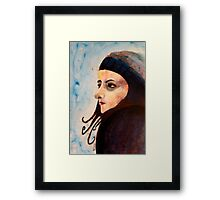 Self Portrait, ink resist acrylic on Yupo paper Framed Print