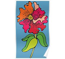 Watercolor colorful flower Poster