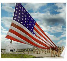 Americana - Fort Hood Texas - Unfolding the flag 1944 Poster