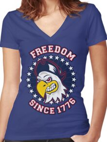 Freedom Eagle Women's Fitted V-Neck T-Shirt