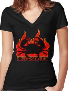 Hell Crab City - On Fire Women's Fitted V-Neck T-Shirt