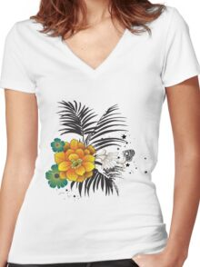 Beautiful yellow and green flowers  Women's Fitted V-Neck T-Shirt