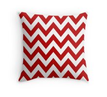 Red Chevron Pattern Throw Pillow