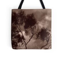 dolores's tree in sepai again, this time with clouds ...  Tote Bag