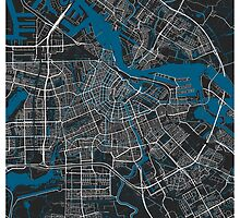Amsterdam city map black colour by mmapprints