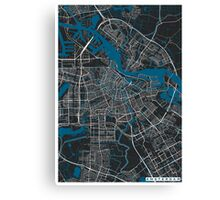 Amsterdam city map black colour Canvas Print