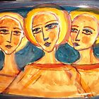 ceramic plate with faces by catherine walker
