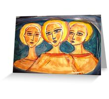 ceramic plate with faces Greeting Card