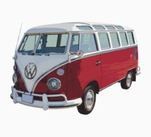 Red And White VW 21 window Mini Bus One Piece - Long Sleeve