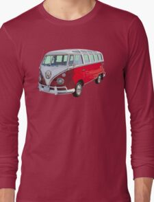 Red And White VW 21 window Mini Bus Long Sleeve T-Shirt