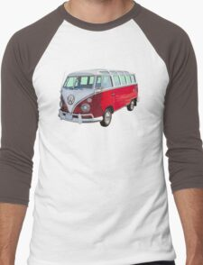 Red And White VW 21 window Mini Bus Men's Baseball ¾ T-Shirt