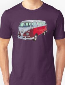 Red And White VW 21 window Mini Bus Unisex T-Shirt