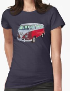 Red And White VW 21 window Mini Bus Womens Fitted T-Shirt