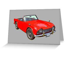 Red Triumph Tr4 Convertible Sports Car Greeting Card