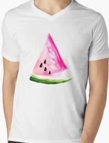 Watercolour Watermelon Mens V-Neck T-Shirt