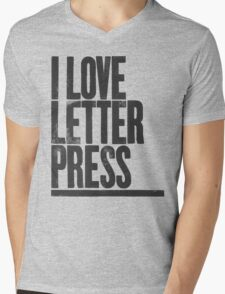 I Love Letterpress Mens V-Neck T-Shirt