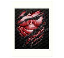 Red Devil torn tee tshirt pencils color art Art Print